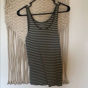 Olive striped maternity tank Sz S